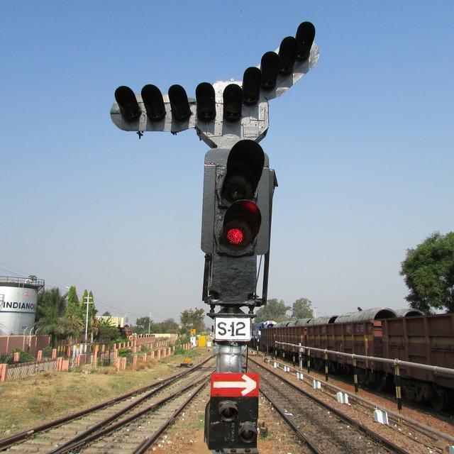 Railway signal hospet india, transportation traffic.