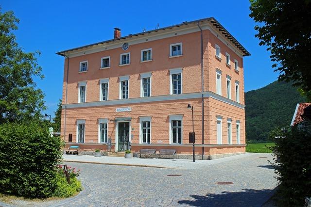 Railway station place aschau, architecture buildings.