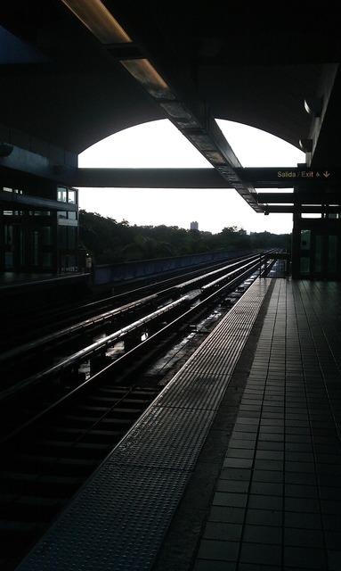 Railway station platform, transportation traffic.
