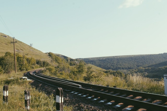 Railway the way line, transportation traffic.