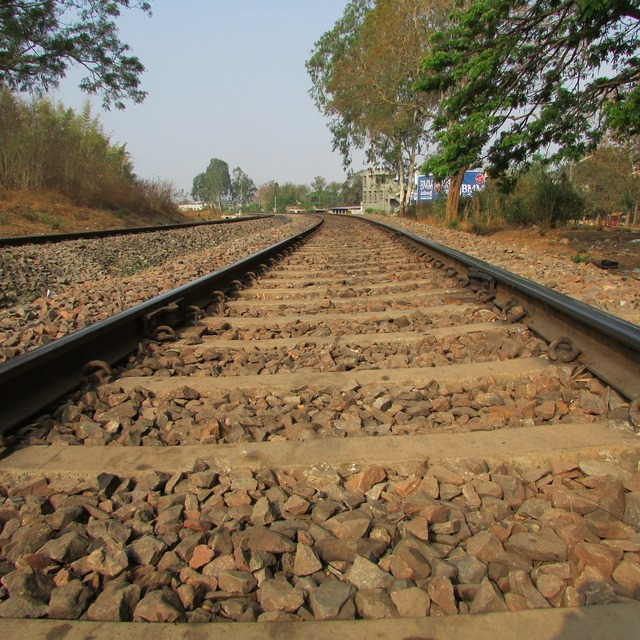 Railway track railroad, transportation traffic.