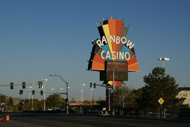 Rainbow casino casino billboard, transportation traffic.