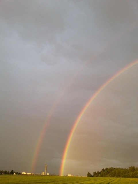 Rainbow color double rainbow, travel vacation.