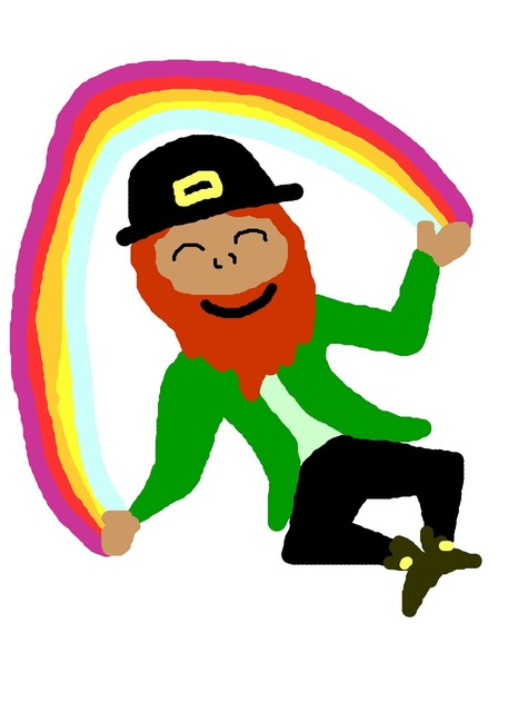 Rainbow gold leprechaun, business finance.