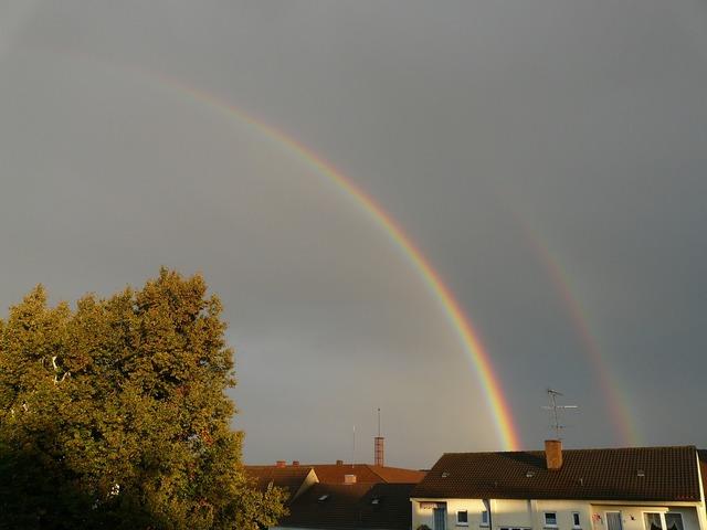 Rainbow half transient, nature landscapes.