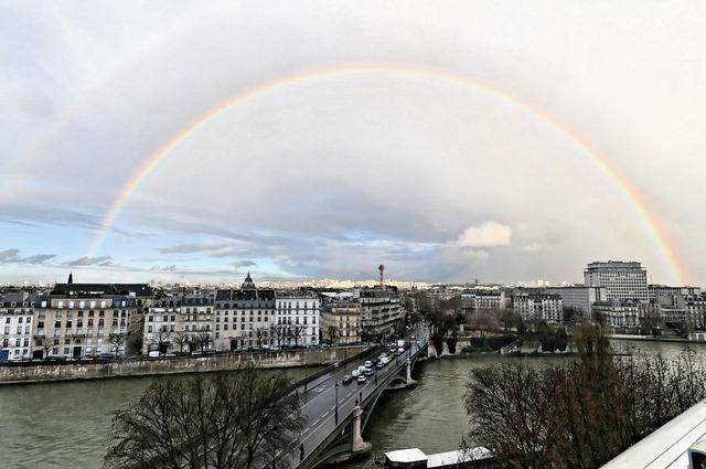 Rainbow paris storm, nature landscapes.