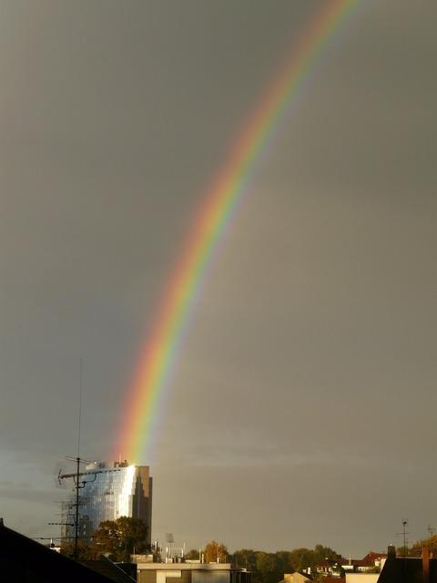 Rainbow refraction phenomenon, nature landscapes.