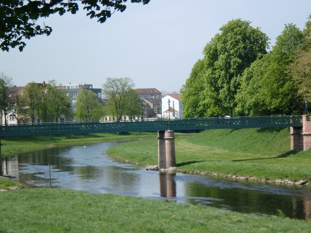 Rastatt murg river, architecture buildings.