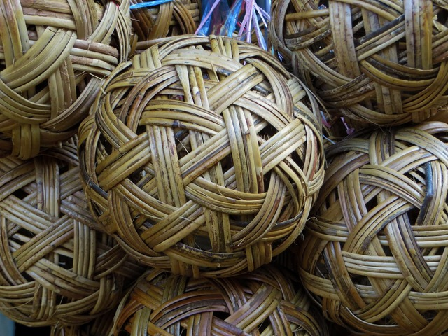 Rattan ball weaving.
