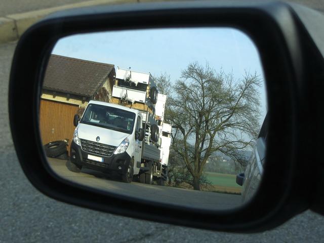 Rear mirror truck trailers, transportation traffic.