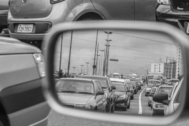 Rearview traffic rent a car, transportation traffic.