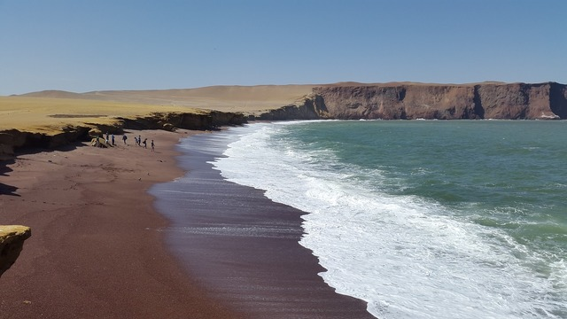 Red beach peru beach, travel vacation.