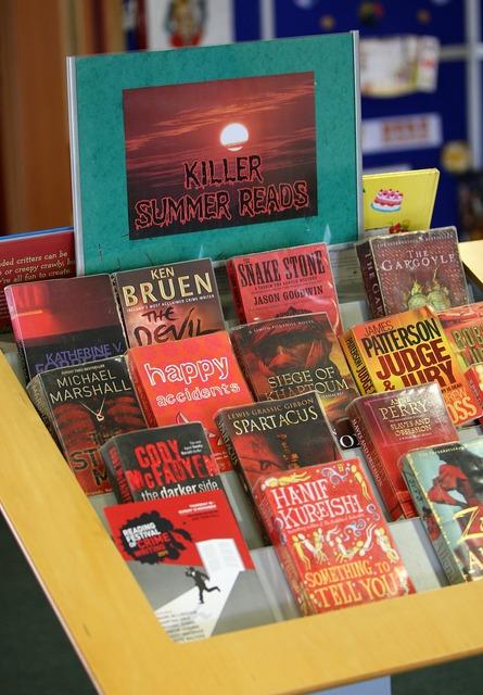 Red book display.