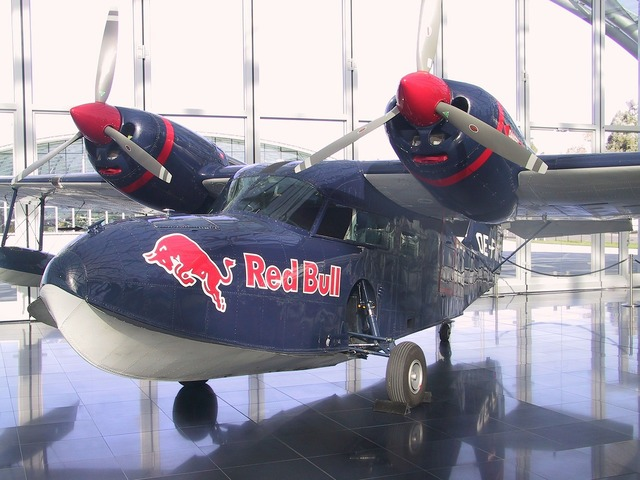 Red bull aircraft propeller.