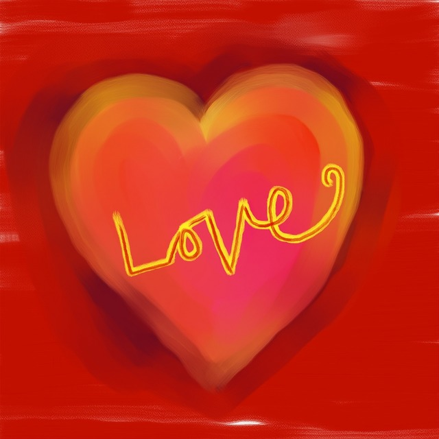 Red love heart, emotions.
