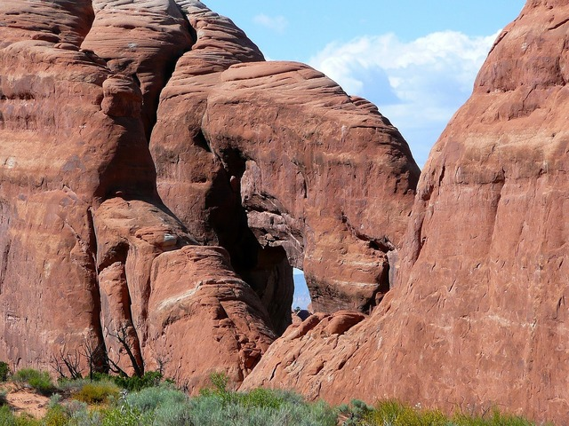 Red rocks formations arches national park, nature landscapes.