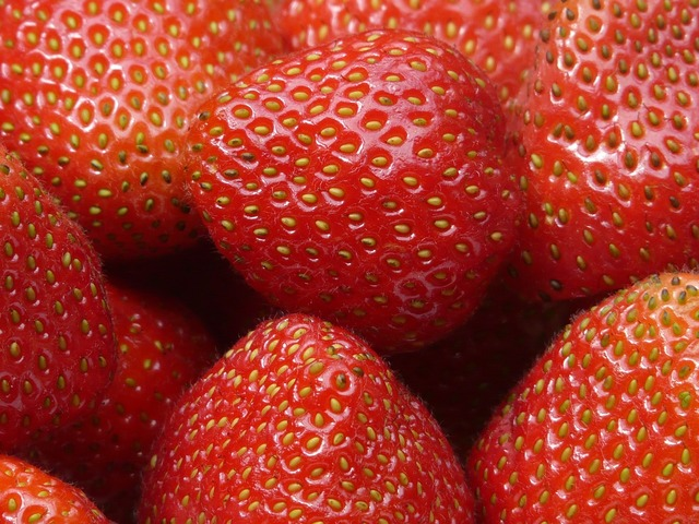 Red strawberries fruits, food drink.
