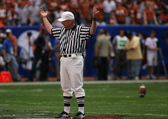 Referee american football game, sports.