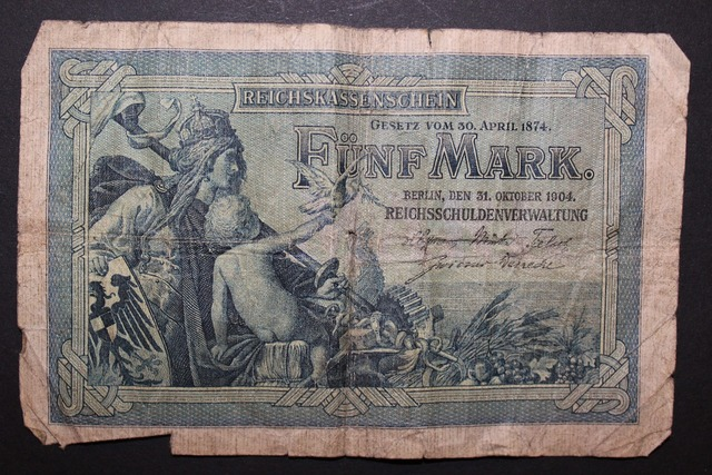 Reichsmark imperial banknote reich treasury certificate, business finance.