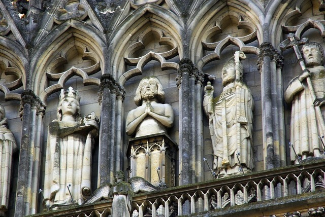 Reims cathedral sculptures, religion.