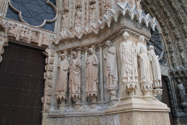 Reims cathedral statue, religion.