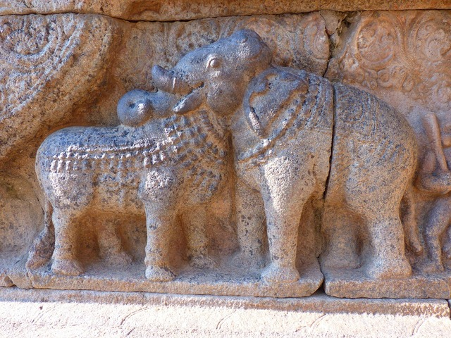 Relief bull elephant, religion.