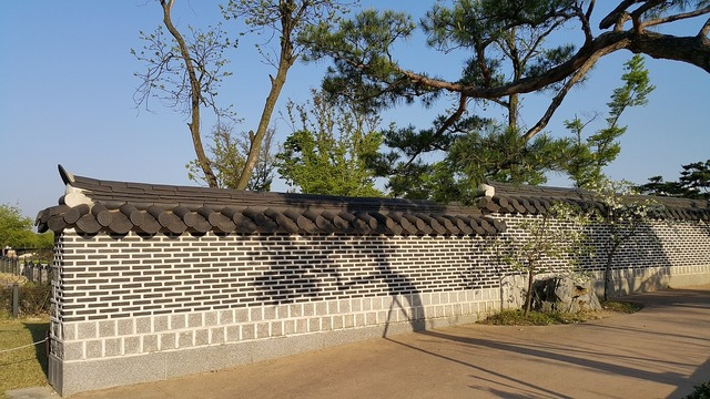 Republic of korea stone wall pine, places monuments.