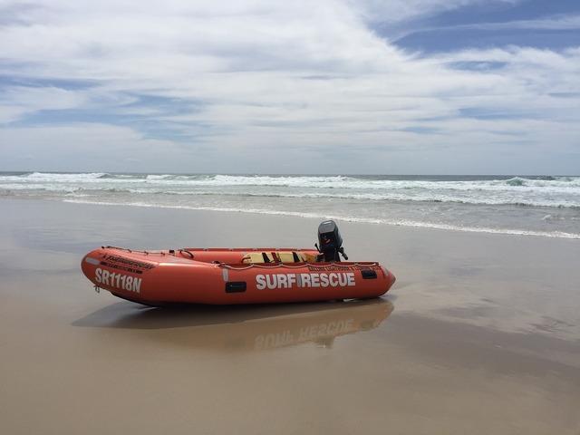 Rescue boat surf life saving australia, travel vacation.