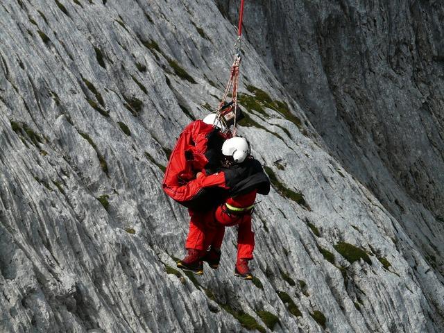 Rescue helpers mountain rescue emergency.