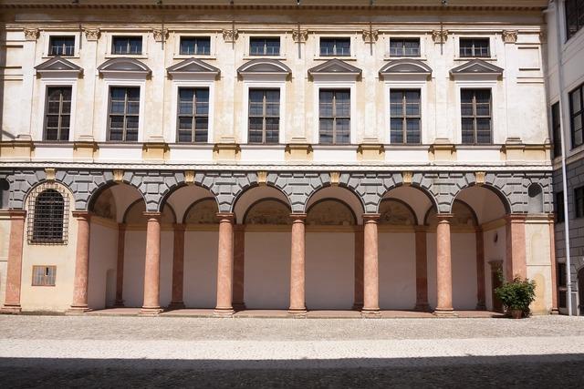 Residence renaissance courtyard, architecture buildings.