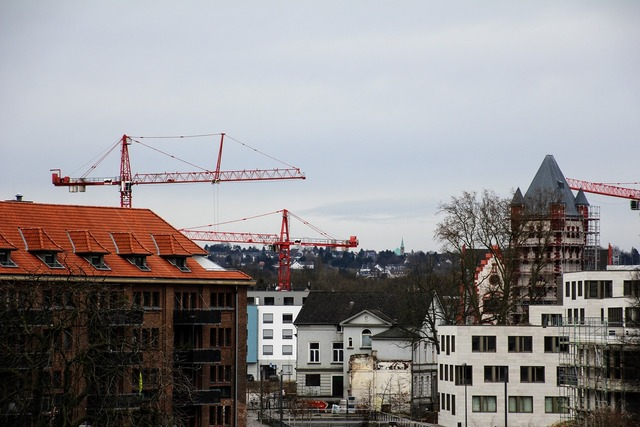 Residential development build site, architecture buildings.