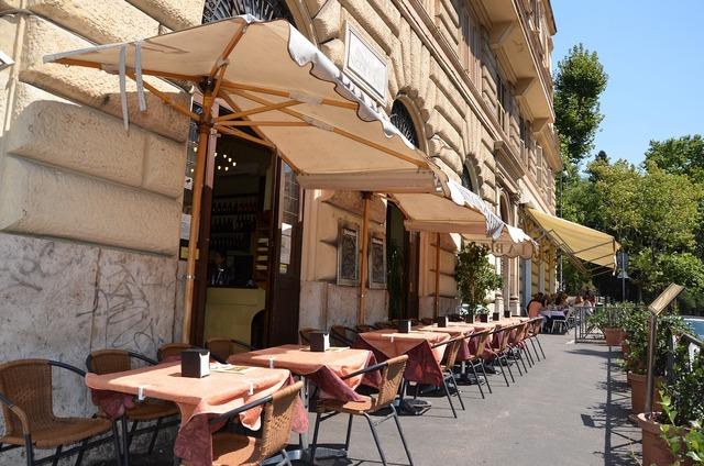 Restaurant coffee shop umbrellas, business finance.