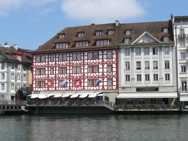 Reuss river lucerne, architecture buildings.