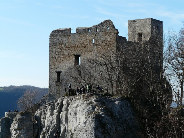 Reußenstein castle ruin, architecture buildings.