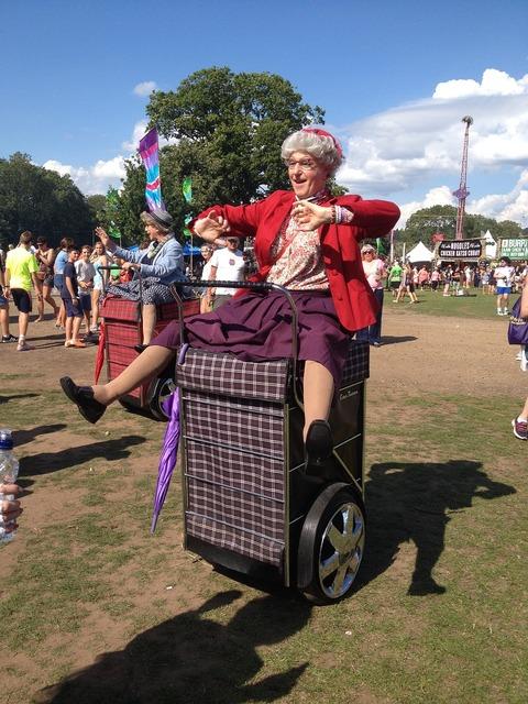 Rewind festival old lady costume, music.