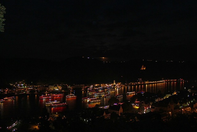 Rhine in flames castle rhine.