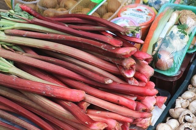 Rhubarb market fruit, food drink.