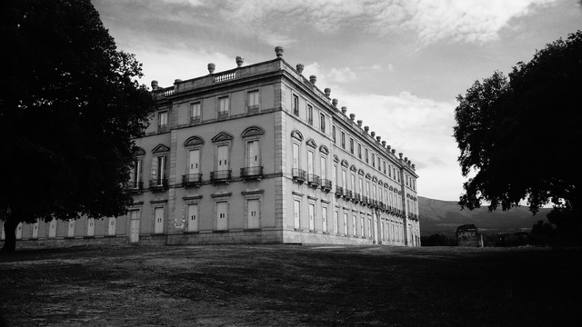 Riofrio palace facade, architecture buildings.