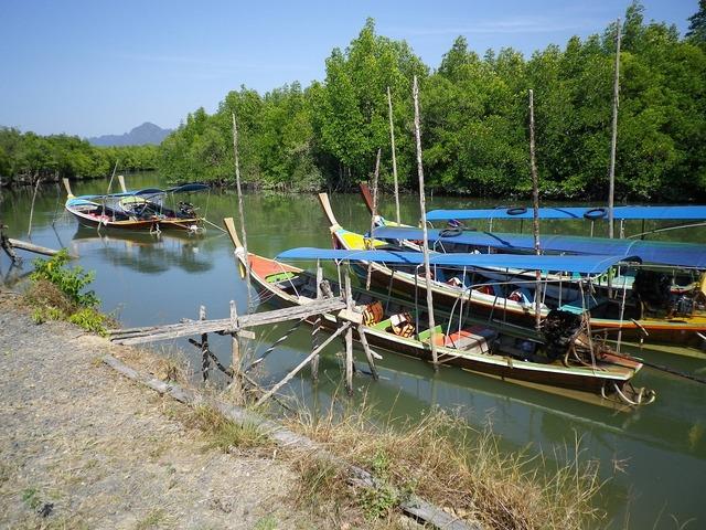 River boats fishing boats.