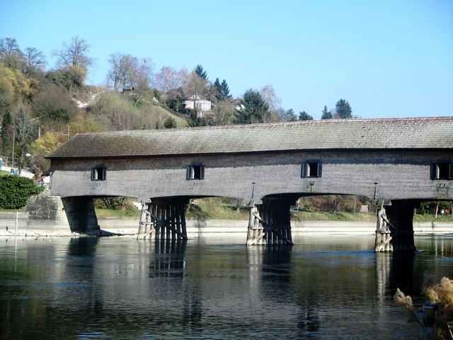 River bridge wooden bridge.