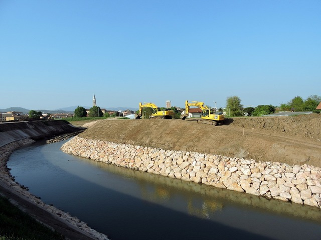 River excavator earthmoving.