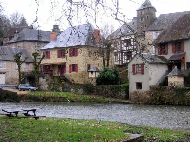 River frontage medieval houses france.