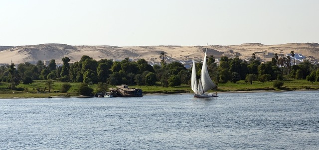 River nile egypt sailboat, nature landscapes.