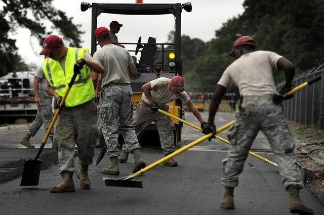 Road construction asphalt, transportation traffic.