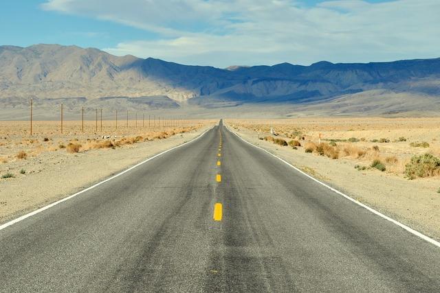 Road death valley usa, transportation traffic.