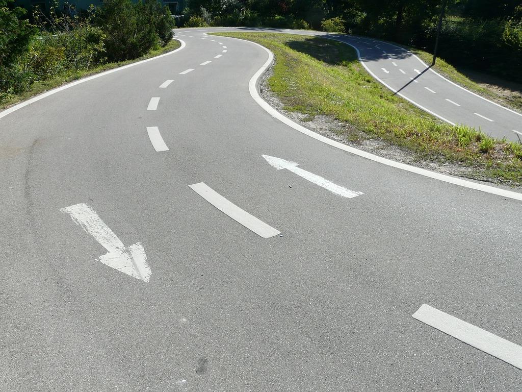 Road lane traces, transportation traffic.