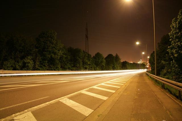 Road light long exposure, transportation traffic.