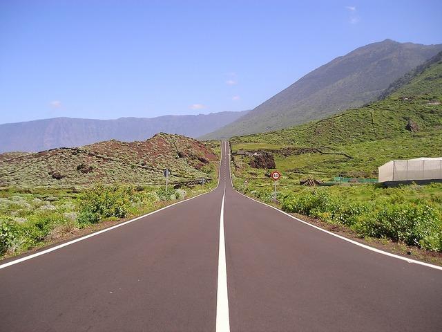 Road lonely balearic islands, transportation traffic.