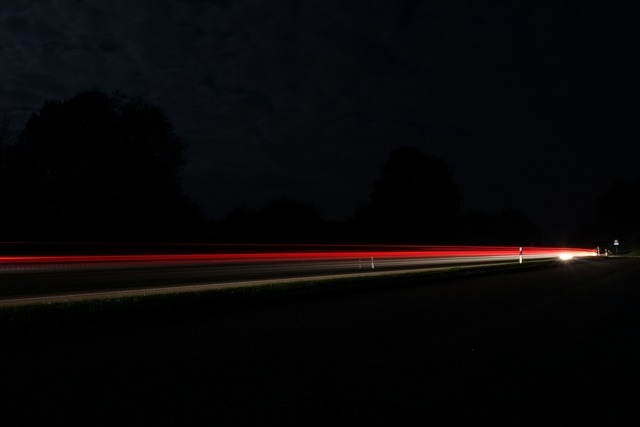 Road long exposure lights, transportation traffic.