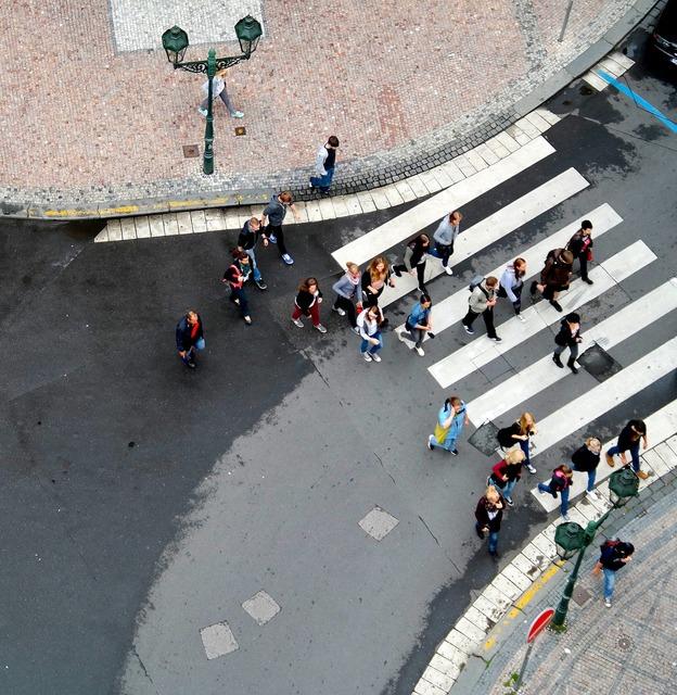 Road pedestrian crossing walks, transportation traffic.